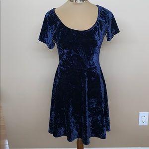 Dresses & Skirts - Dark Blue Velvet Mini Dress Stretchy